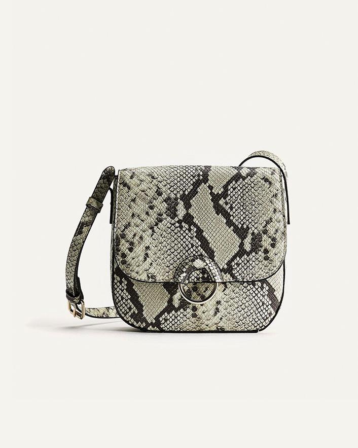 Snakeskin print crossbody handbag