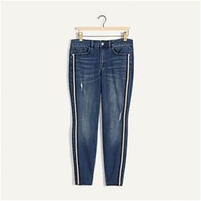 Jean skinny avec bande latérale