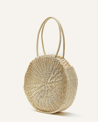 Round oversized straw bag