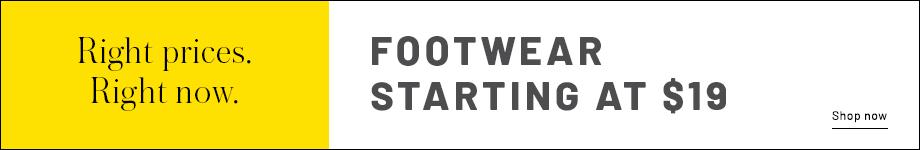 Footwear starting at $19