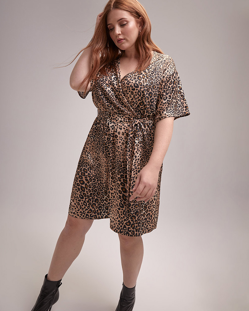 Leopard Print Faux Wrap Dress
