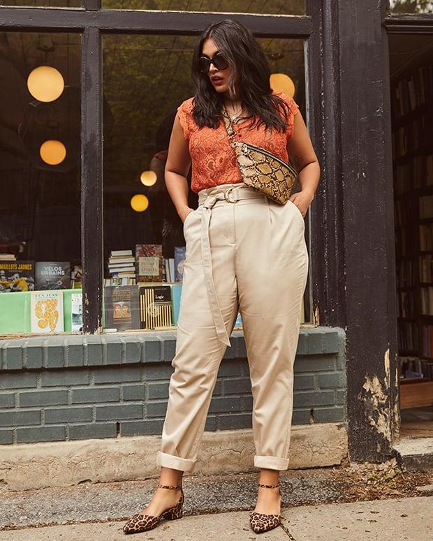 Pantalon taille haute avec ceinture