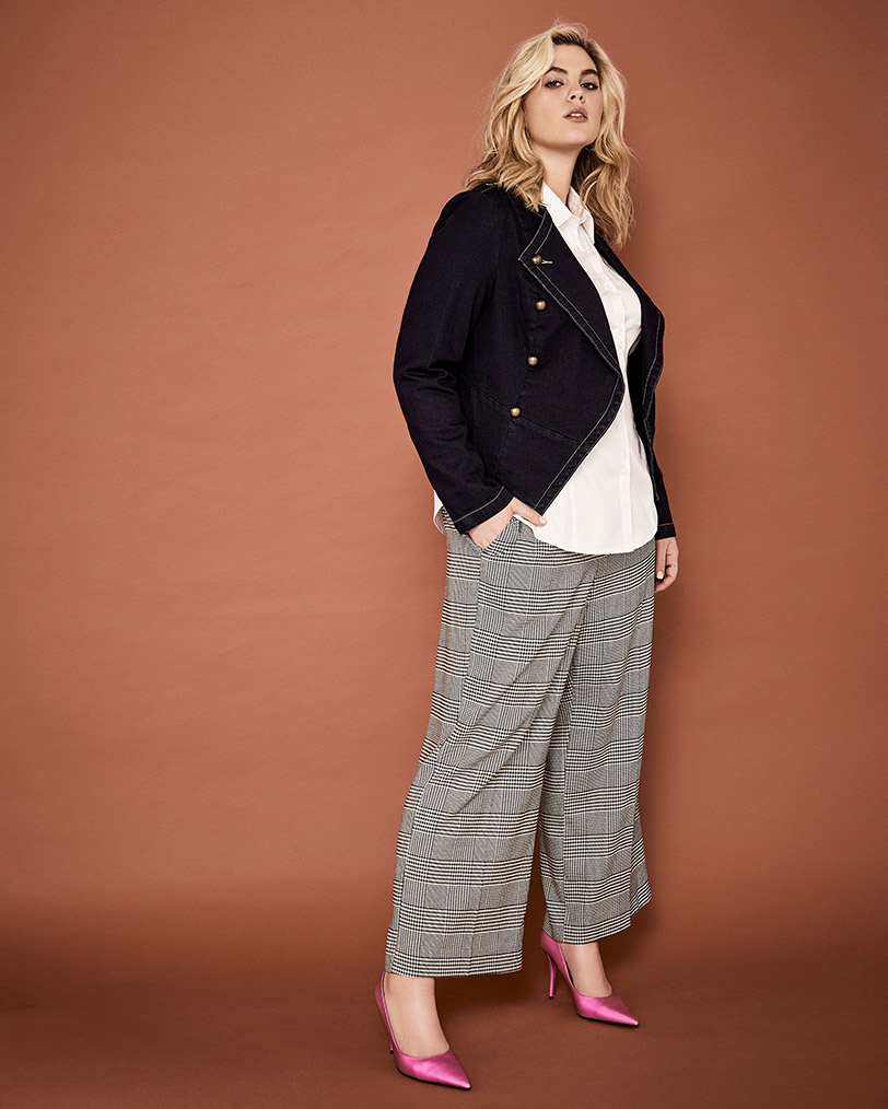 Utilitarian denim jacket paired with wide leg crop pant