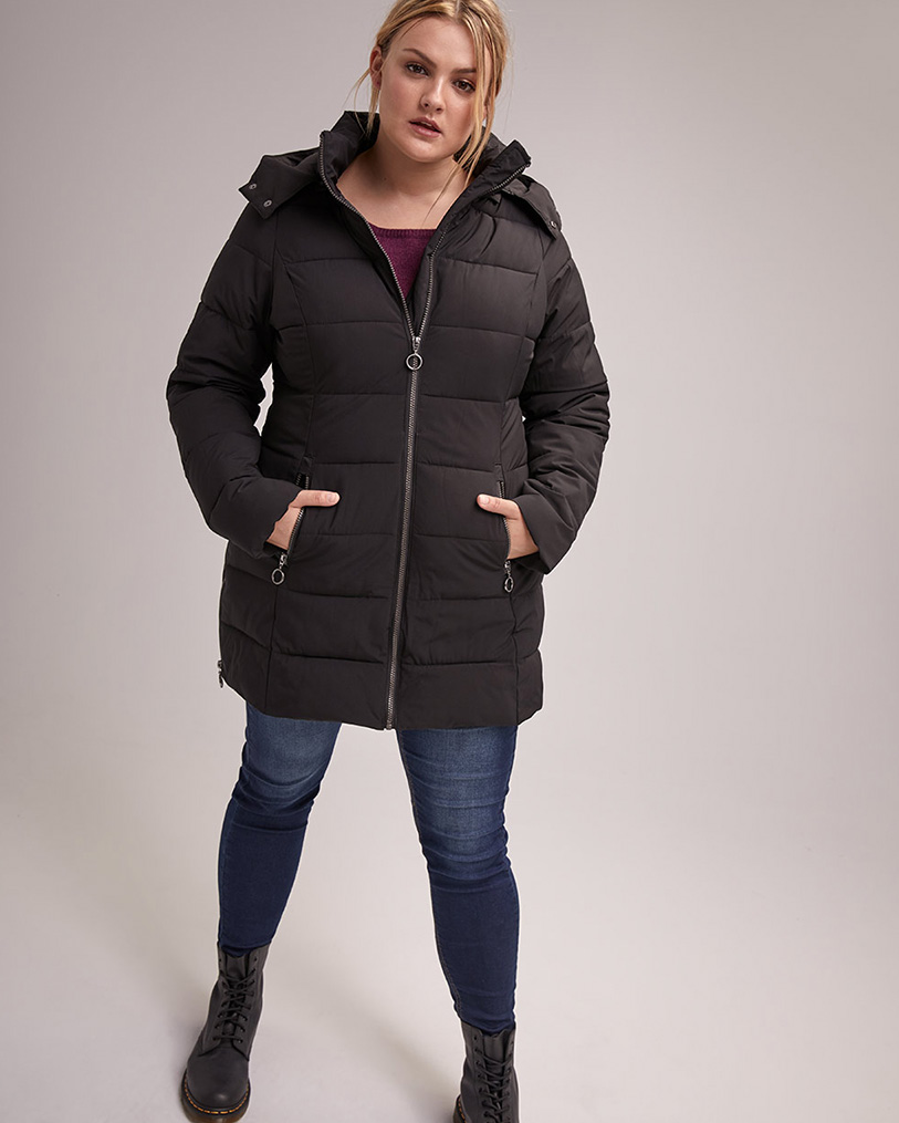 Two-Way Stretch Puffer Jacket with Hood