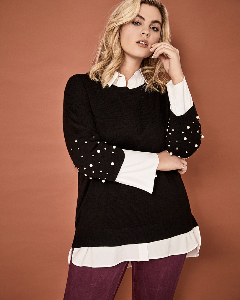 Pearl sweater layered with white poplin blouse