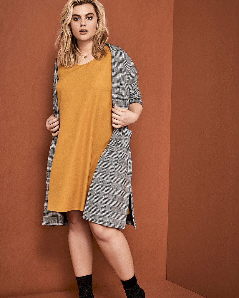 Mustard slip dress paired with Glen plaid duster